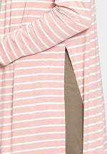 MacArthur Longline Stripe Cardigan in Light Pink