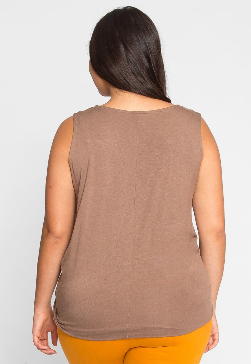 Plus Size Gilroy Sleeveless Top in Mocha - Plus Tops - Wetseal