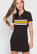 Halfmoon Varsity Stripe Polo Dress in Black