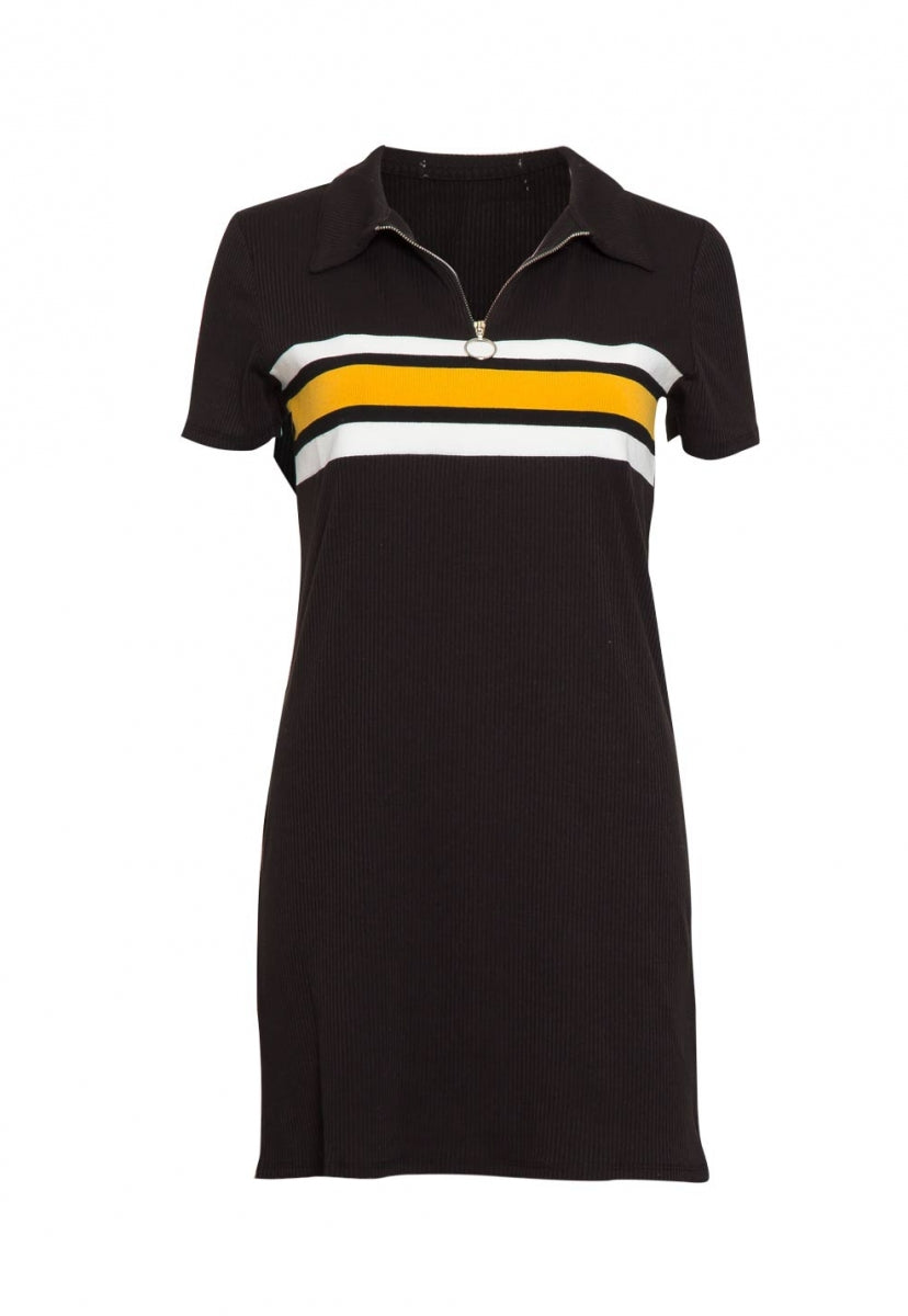 Halfmoon Varsity Stripe Polo Dress in Black - Dresses - Wetseal