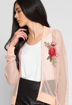 Blush Light Mesh Bomber
