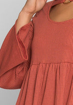 Oak Tree Peplum Knit Top in Rust