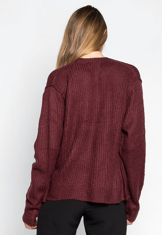 Coffee & Tv Oversized Cardigan in Burgundy