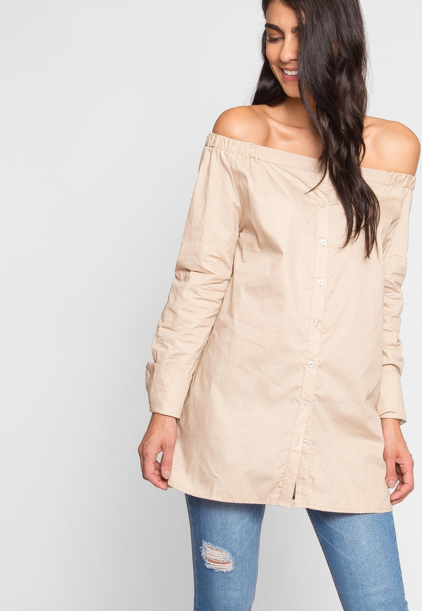 Paloma Off Shoulder Button up - Shirts & Blouses - Wetseal