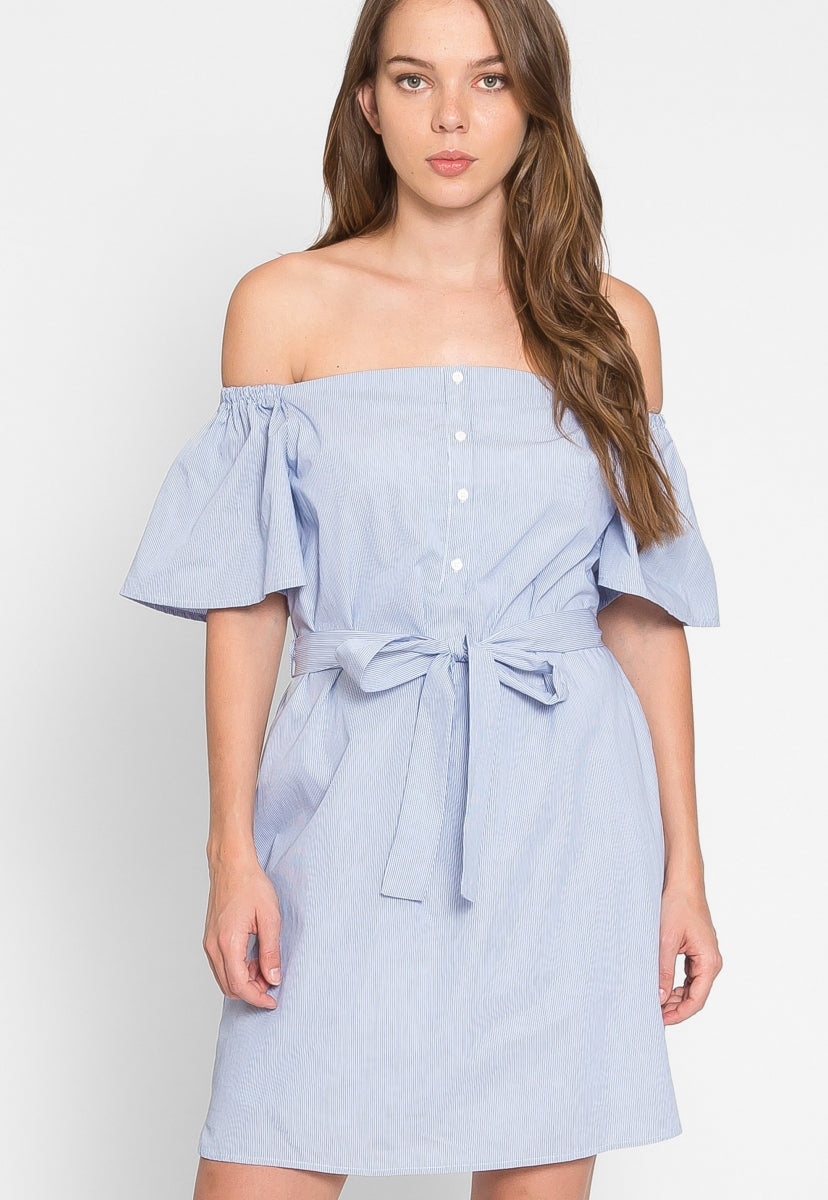 Nautical Stripe Off Shoulder Dress - Dresses - Wetseal