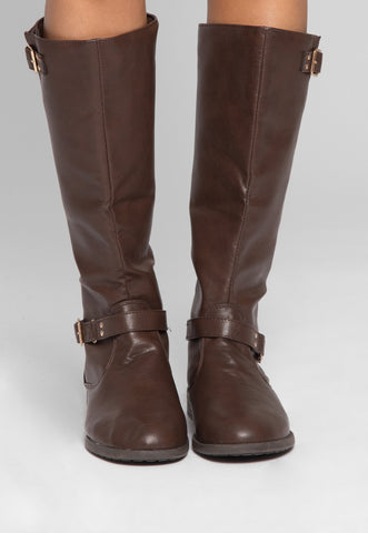 Justina Buckle Boots in Brown
