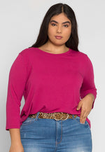 Plus Size Candy Syrup Top in Fuchsia