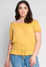 Plus Size Rodeo Off Shoulder Top