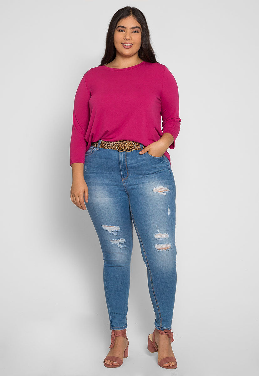 Plus Size Candy Syrup Top in Fuchsia - Plus Tops - Wetseal