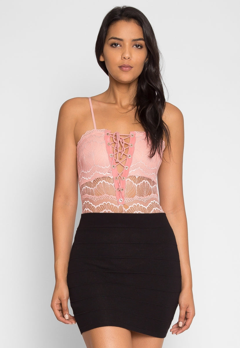 Harlow Lace Bodysuit in Blush - Bodysuits - Wetseal
