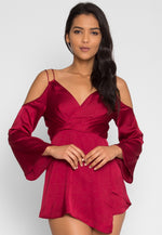 In Charge Satin Romper in Wine