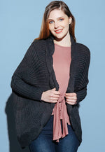 Warmth Scallop Edge Cocoon Cardigan in Black
