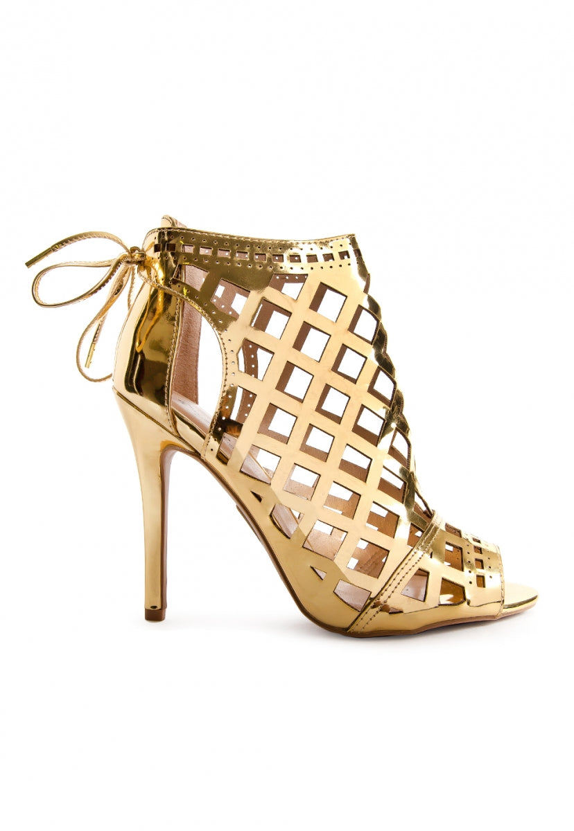 Gold Rush Caged Heels - Shoes - Wetseal