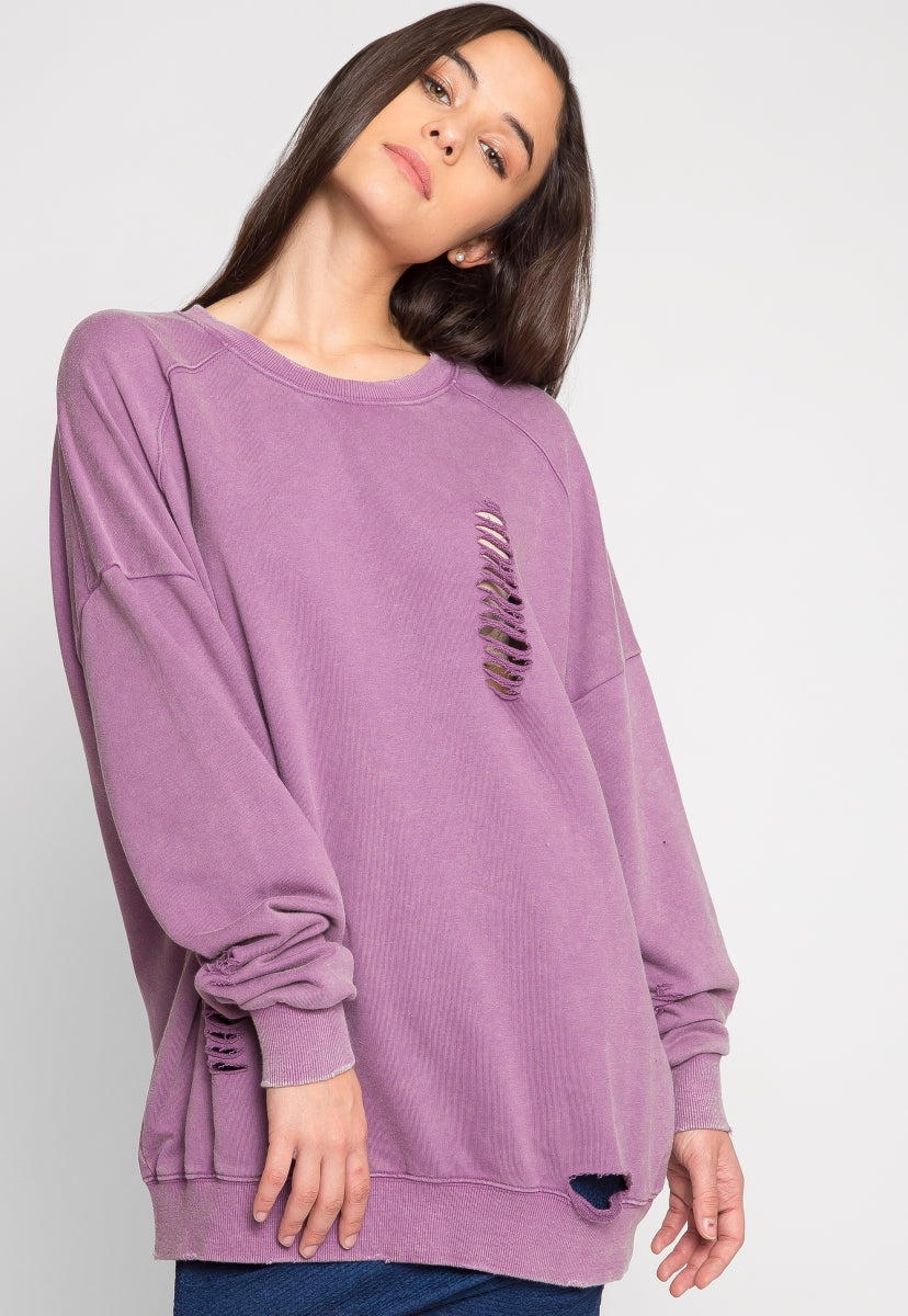 Drippin' Distressed Sweater - Sweaters & Sweatshirts - Wetseal