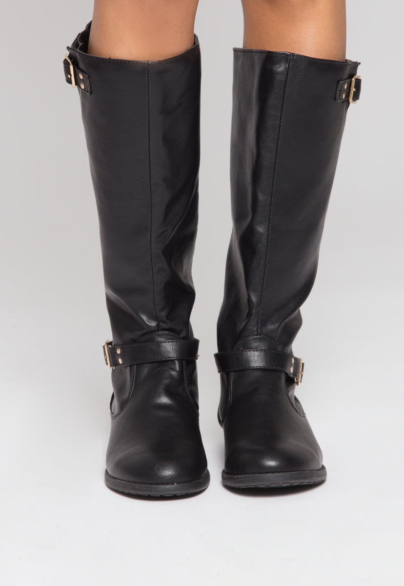 Justina Buckle Boots in Black - Shoes - Wetseal