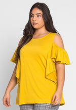 Plus Size Darling Trim Blouse in Yellow