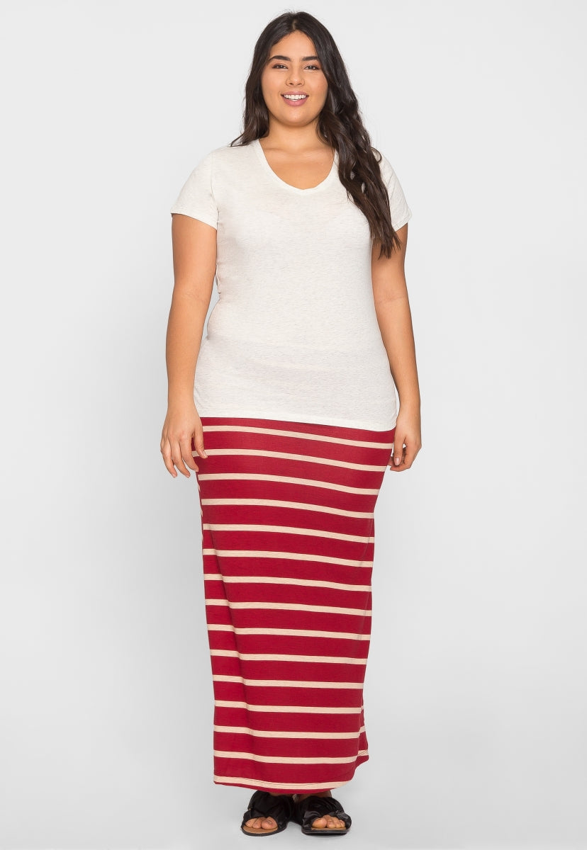 Plus Size Ivy V-Neck Tee in Oatmeal - Plus Tops - Wetseal