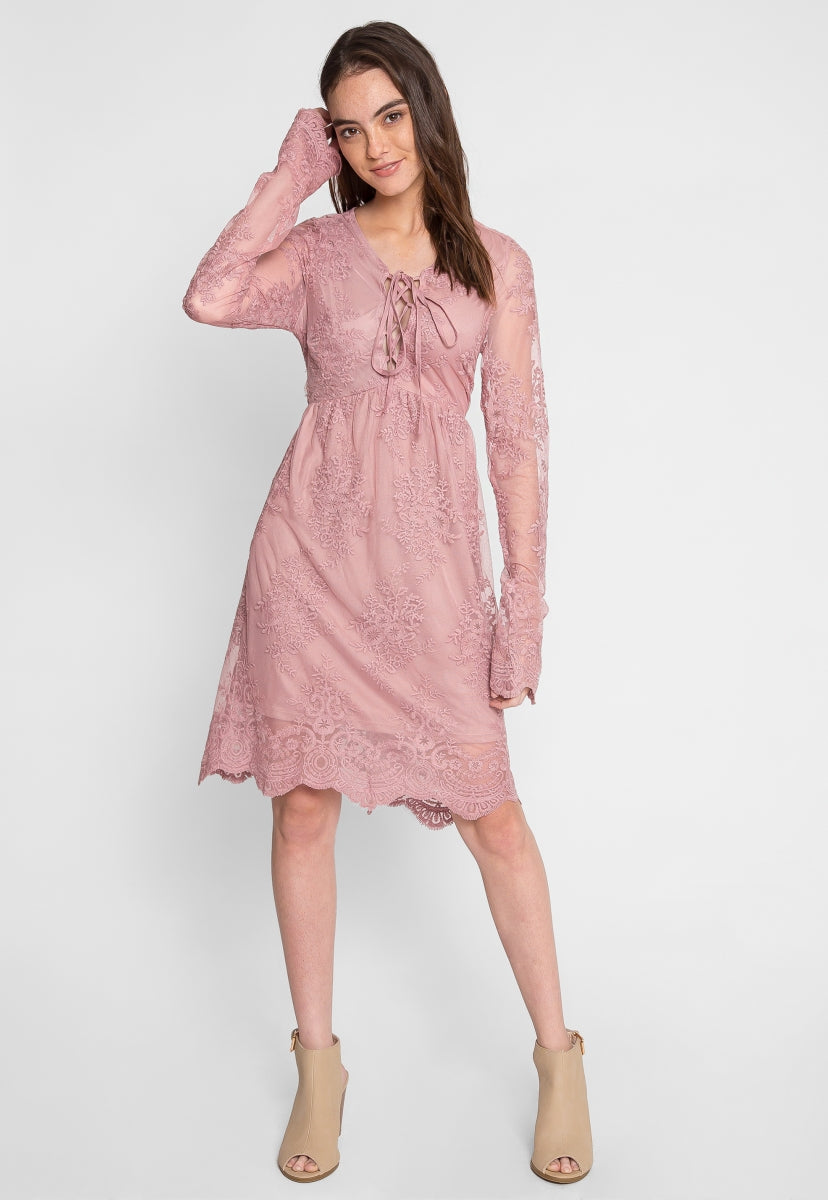 Woodburn Lace Empire Dress in Mauve - Dresses - Wetseal