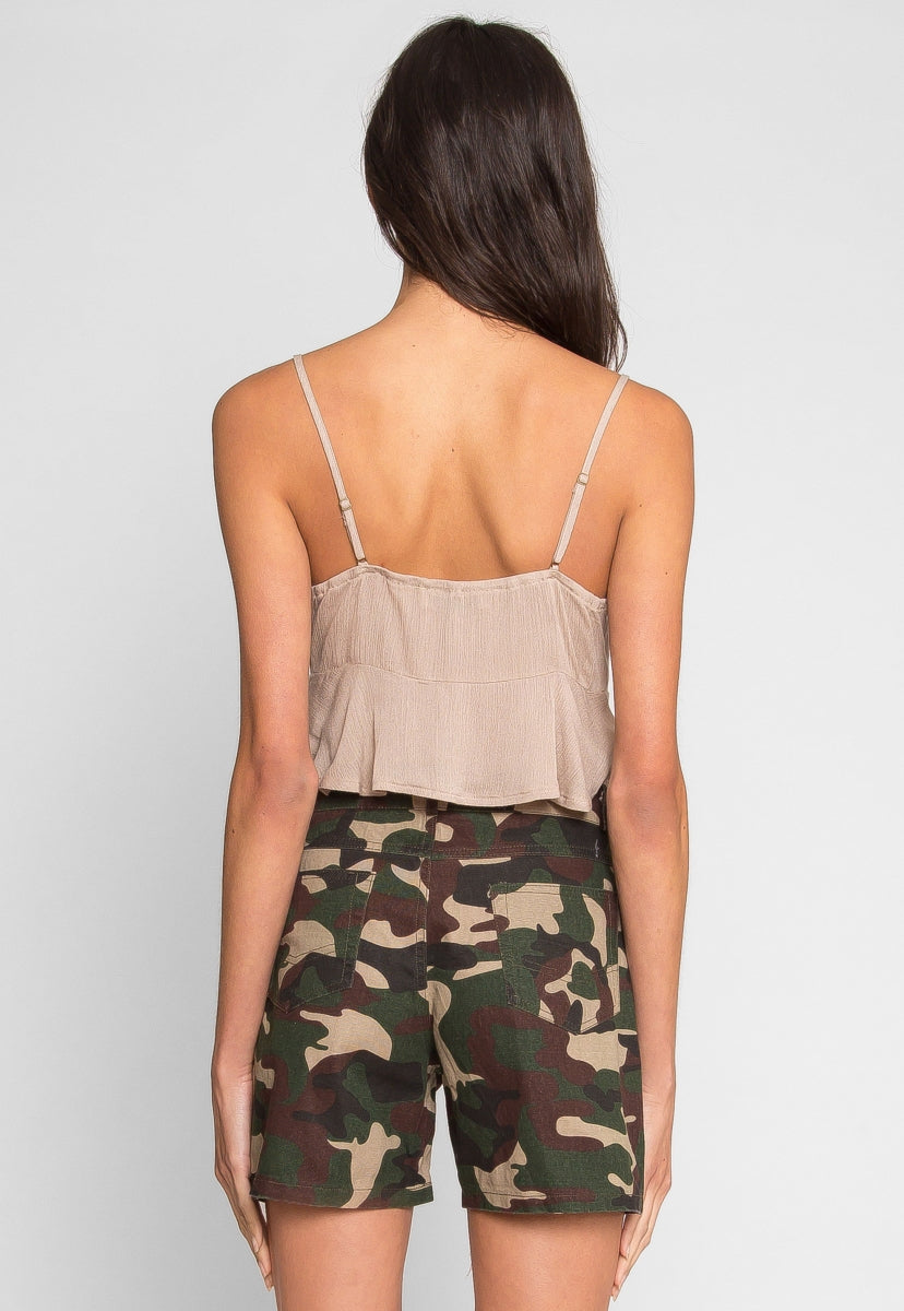 Highlander Tie Front Top in Mocha - Crop Tops - Wetseal