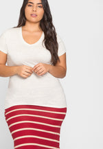 Plus Size Ivy V-Neck Tee in Oatmeal