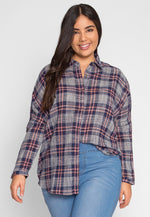 Plus Size Everlane Plaid Button Up Top in Navy