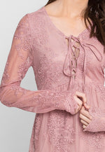 Woodburn Lace Empire Dress in Mauve