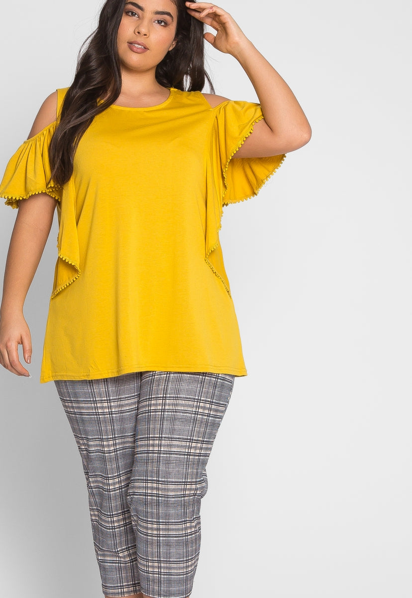 Plus Size Darling Trim Blouse in Yellow - Plus Tops - Wetseal