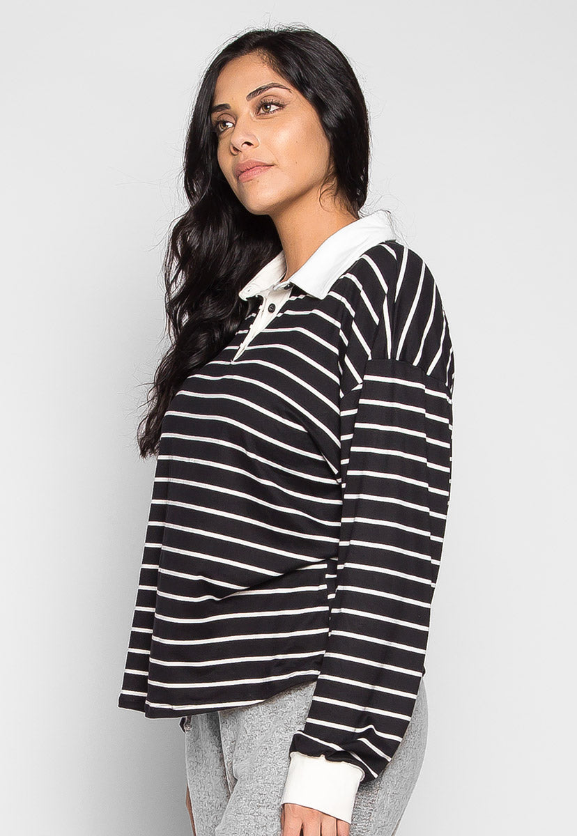Plus Size Lollipop Stripe Henley Top in Black - Plus Tops - Wetseal