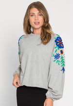 Meadows Embroidered Crop Sweatshirt