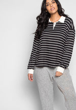 Plus Size Lollipop Stripe Henley Top in Black