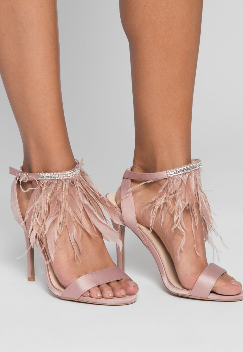Gabi Feather Embellished Heels - Shoes - Wetseal