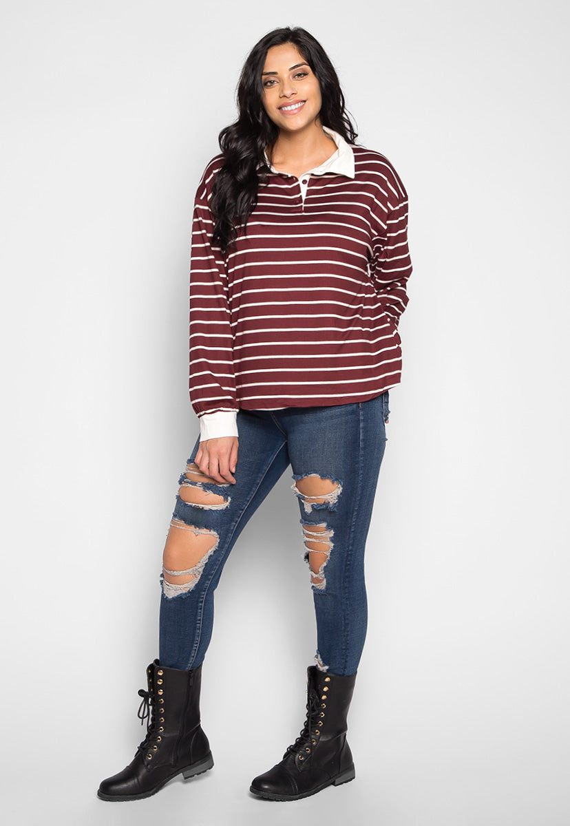 Plus Size Lollipop Stripe Henley Top in Burgundy - Plus Tops - Wetseal