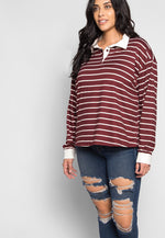 Plus Size Lollipop Stripe Henley Top in Burgundy