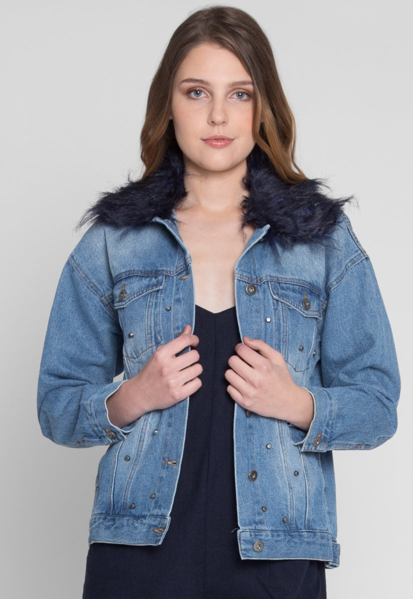Alps Studded Faux Fur Collar Denim Jacket - Jackets & Coats - Wetseal