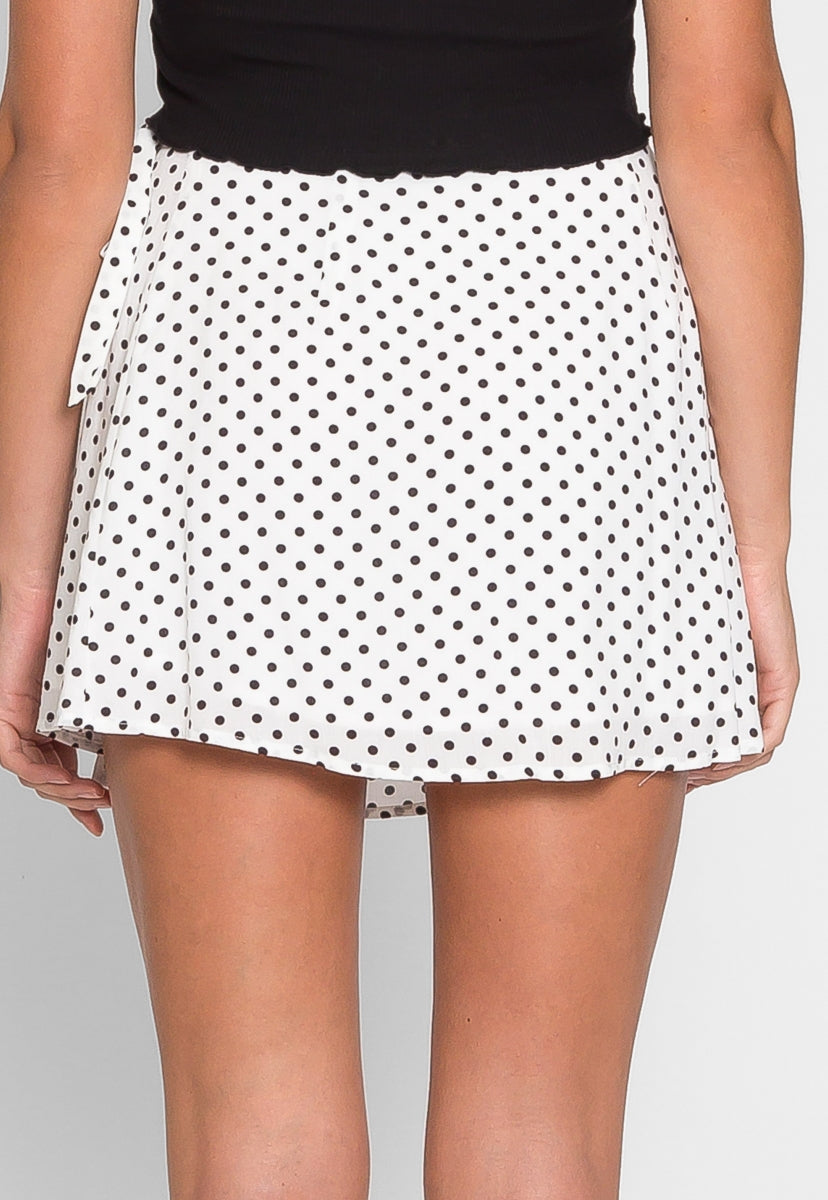Clouds Above Polka Dot Wrap Skirt - Skirts - Wetseal