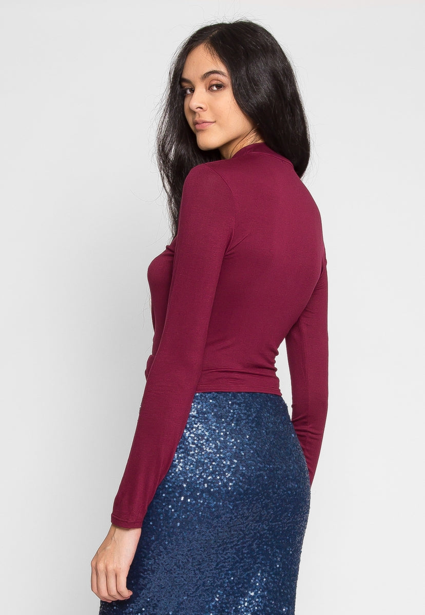 Garfield Mock Neck Crop Top in Burgundy - Crop Tops - Wetseal