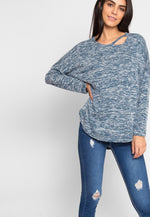 Ball Park Marled Top in Teal