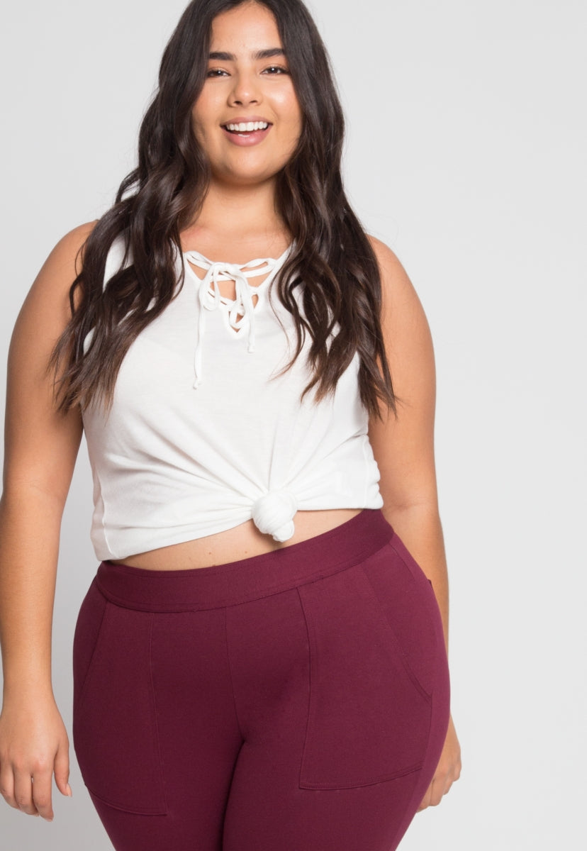 Plus Size Skinny Cargo Pants in Burgundy - Plus Bottoms - Wetseal