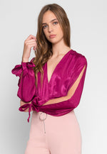 Satin Bodysuit in Magenta