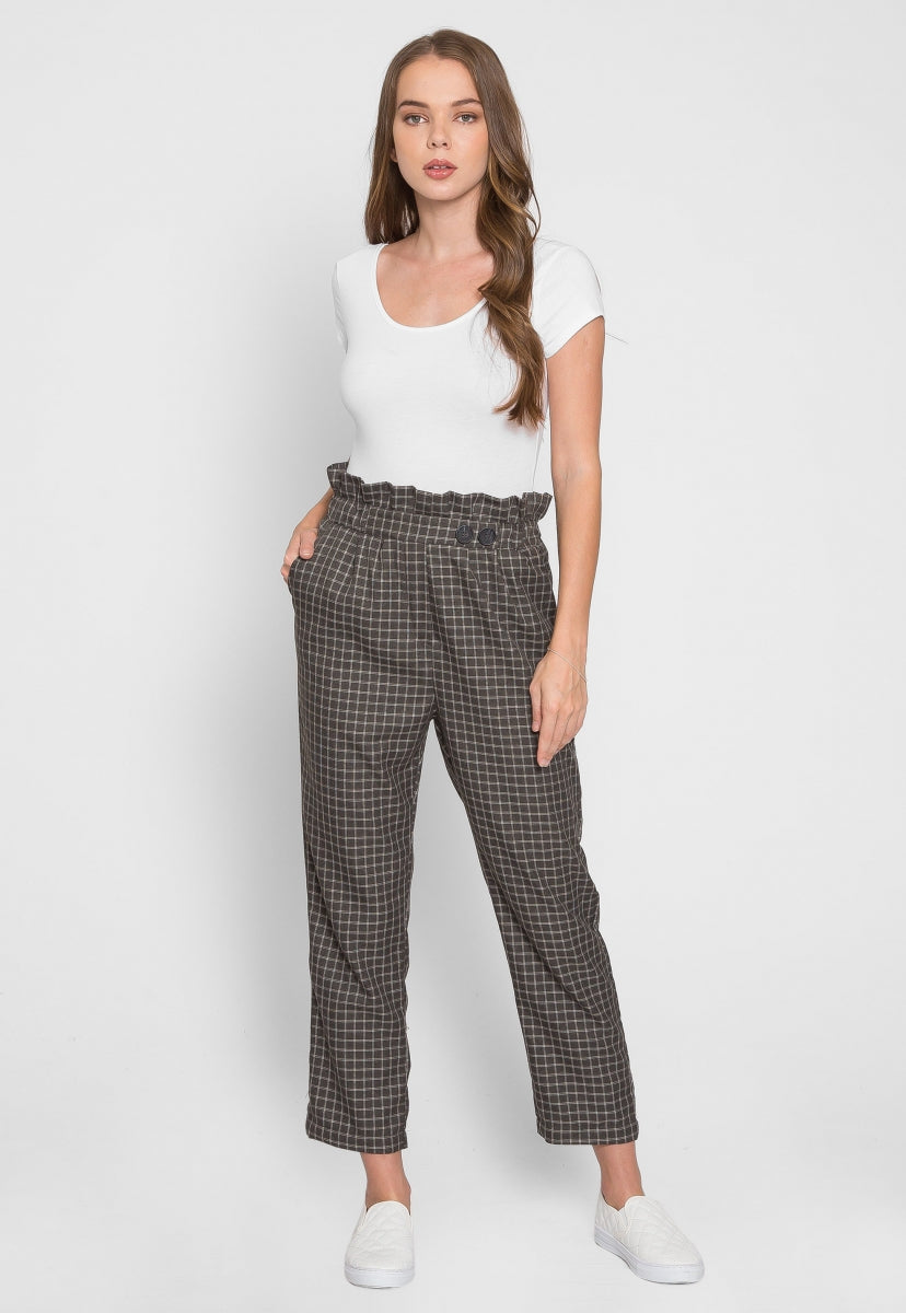 Higher Paper Bag Plaid Pants in Green - Pants - Wetseal