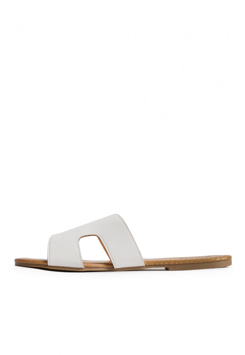 Bailey Cut Out Sandals in White - Shoes - Wetseal