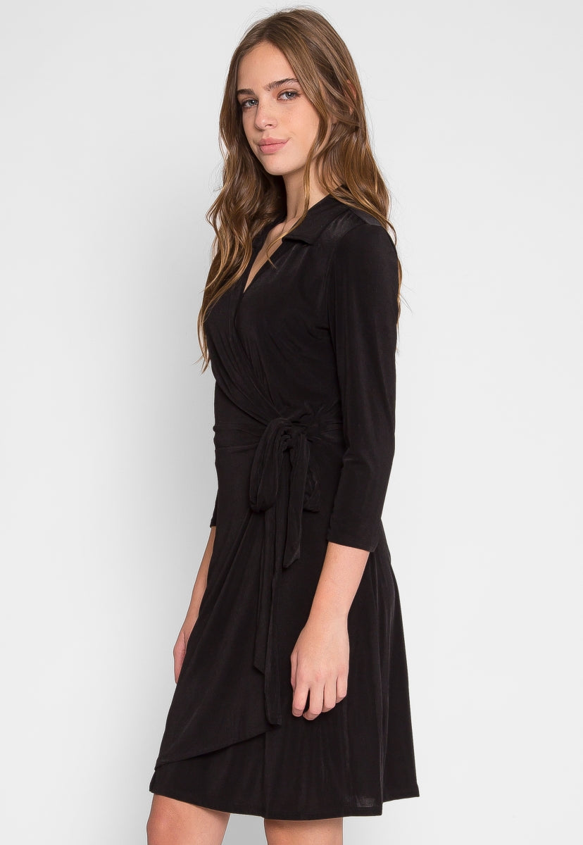 Melanie Collar Wrap Dress - Dresses - Wetseal