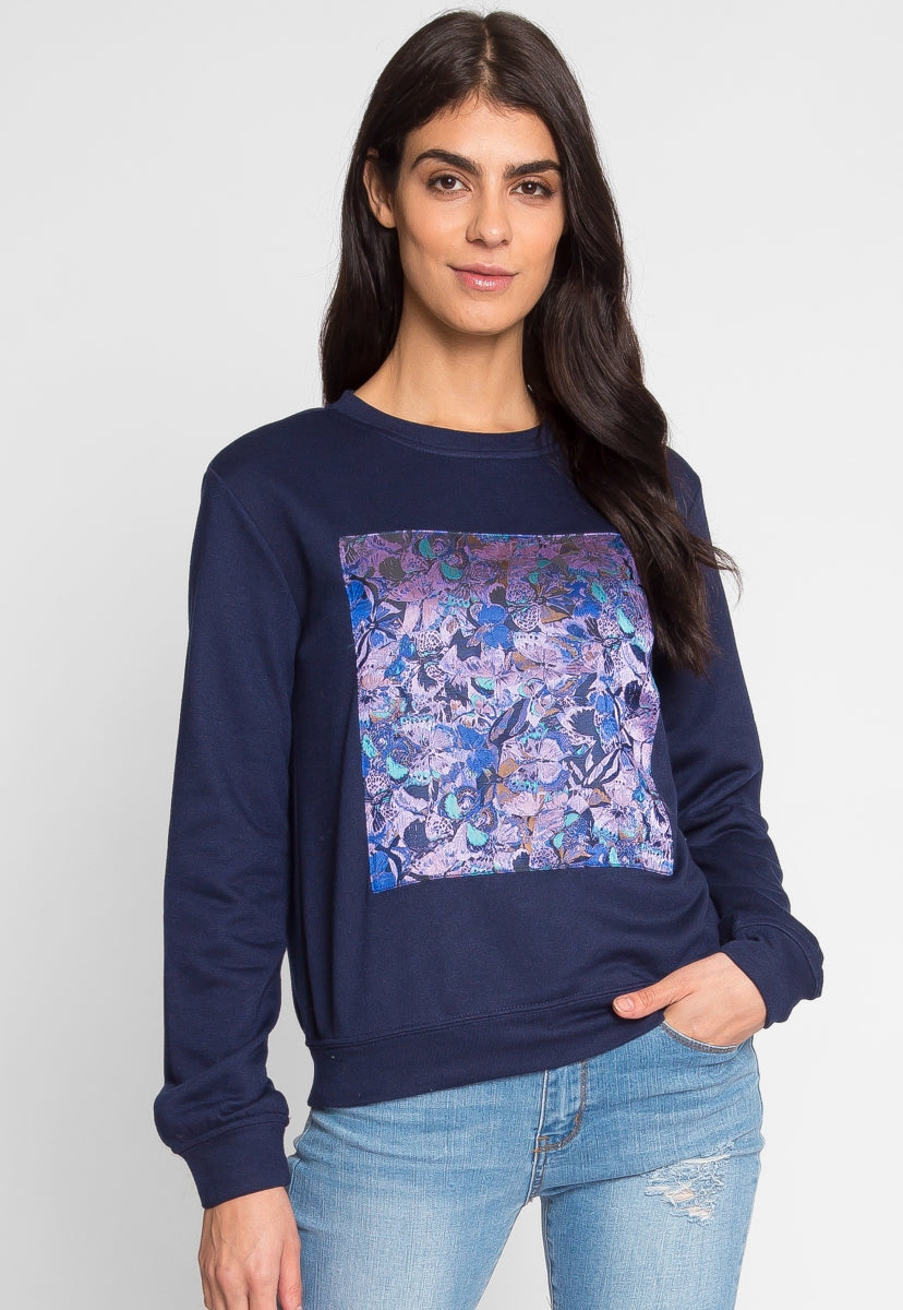 Abstract Sweatshirt in Navy - Sweaters & Sweatshirts - Wetseal