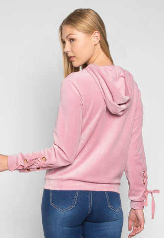 The Right Way Lace Up Sleeve Velour Sweatshirt