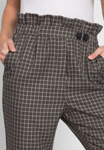 Higher Paper Bag Plaid Pants in Green