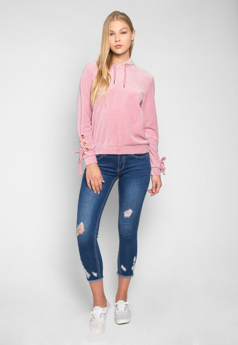 The Right Way Lace Up Sleeve Velour Sweatshirt - Sweaters & Sweatshirts - Wetseal