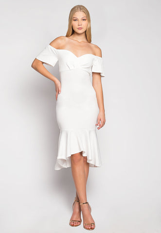 Someone To Remember Off Shoulder Trumpet Dress