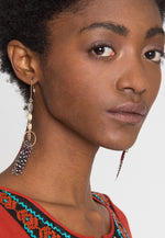 Guinea Feather Drop Earrings in Gold