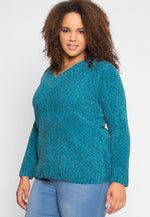 Plus Size Velvet V-Neck Sweater in Teal