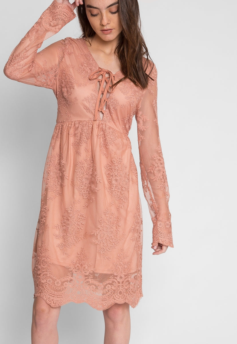 Woodburn Lace Empire Dress in Blush - Dresses - Wetseal